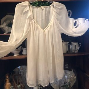 Chelsea & Violet Sheer Creamy White Chiffon Top